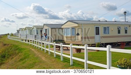 Hopton, Norfolk, England -  August 24, 2017: Cliff Top Caravans In Summer , Norfolk England