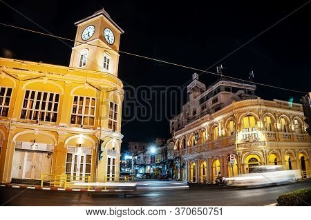 Thailand - Feb 12, 2020 : View Of Chino-portuguese Style Building With Clock Tower After Renovated L