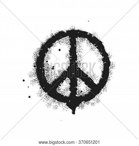 Vector Graffiti Peace Element Sprayed With Leak In Black Over White. Sign Pacifist, Black Hippie Sym