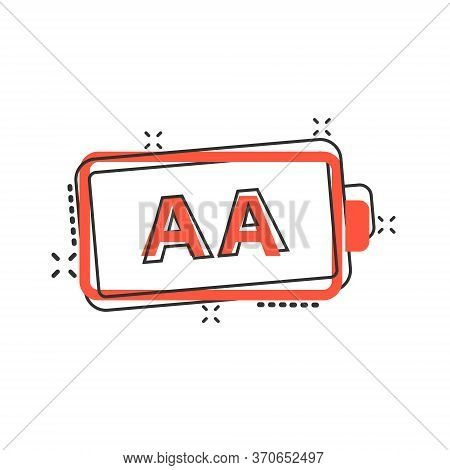 Aa Battery Icon In Comic Style. Power Level Cartoon Vector Illustration On White Isolated Background