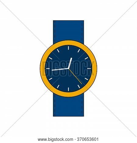 Yellow Gold Stylish Watch With A Leather Strap Without Numerics. Vector Flat Illustration