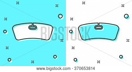 Black Line Windshield Icon Isolated On Green And White Background. Random Dynamic Shapes. Vector