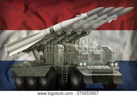 Tactical Short Range Ballistic Missile With Arctic Camouflage On The Netherlands Flag Background. 3d