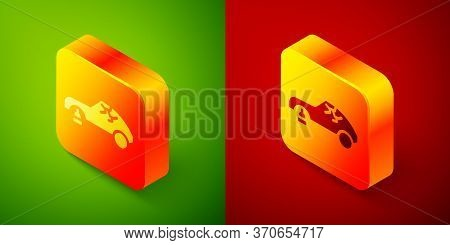 Isometric Broken Car Icon Isolated On Green And Red Background. Car Crush. Square Button. Vector