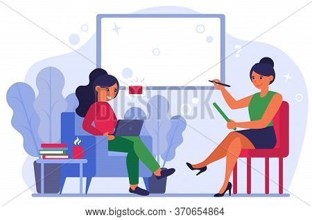 Women Discussing New Message. Person With Laptop Ignoring Her Talk Partner Flat Vector Illustration.