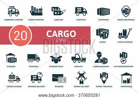 Cargo Icon Set. Collection Contain Labeling, Combined Cargoes, Trucking, Storage Rack, Storage And O