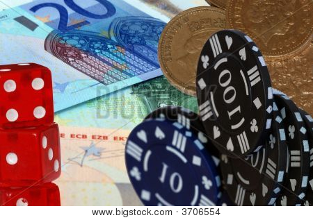 Euro Coins And Dice