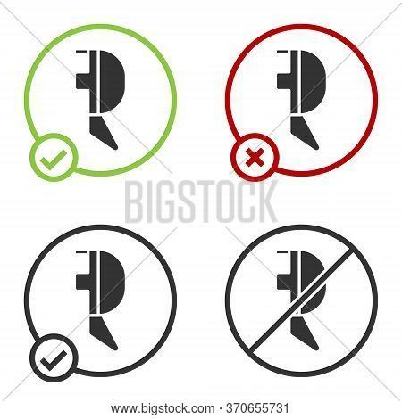 Black Fencing Helmet Mask Icon Isolated On White Background. Traditional Sport Defense. Circle Butto