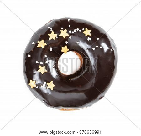 Donut With Chocolate Glossy Glaze And Sprinkles Isolated On White Background. Top View.