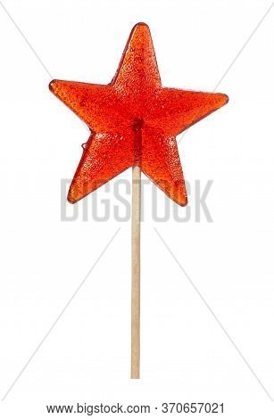 Sweet Lollipop In The Shape Of A Star Isolated On White Background.