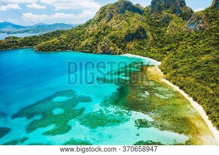 Cadlao Lagoon, El Nido, Palawan Island, Philippine. Aerial Drone View Of A Tropical Island Coastline
