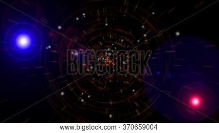 Abstract Digital Wormhole, Particle Light Tunnel In Space