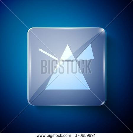 White Light Rays In Prism Icon Isolated On Blue Background. Ray Rainbow Spectrum Dispersion Optical