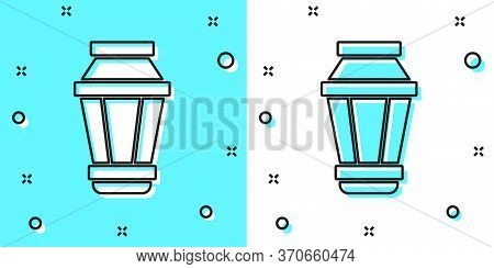 Black Line Garden Light Lamp Icon Isolated On Green And White Background. Solar Powered Lamp. Lanter