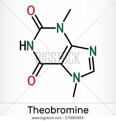 Theobromine, Dimethylxanthine, Purine Alkaloid C7h8n4o2 Molecule. It Is Xanthine Alkaloid In The Cac