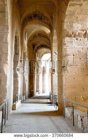 El Djem, Tunisia - February 03, 2009: Photo Of Arena Of The Ancient Roman El Jem Amphitheater.