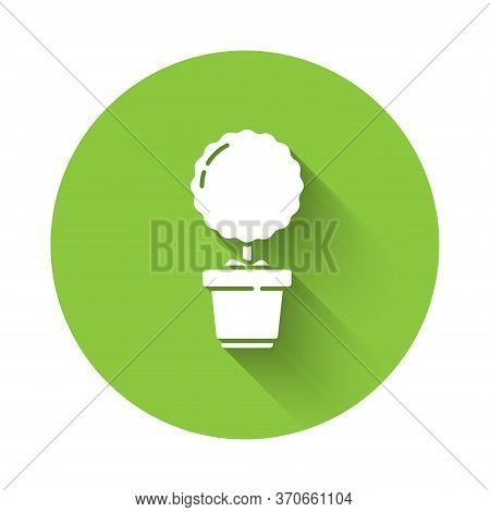 White Plant In Pot Icon Isolated With Long Shadow. Plant Growing In A Pot. Potted Plant Sign. Green