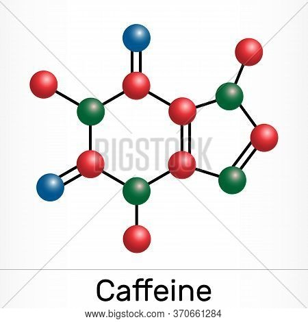 Caffeine, Purine Alkaloid, Psychoactive Drug Molecule. Paper Packaging For Drugs