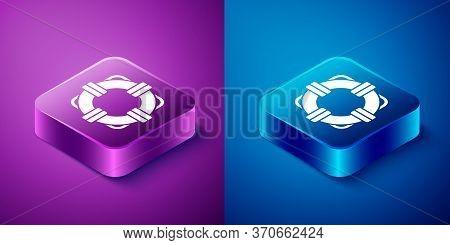 Isometric Lifebuoy Icon Isolated On Blue And Purple Background. Lifebelt Symbol. Square Button. Vect