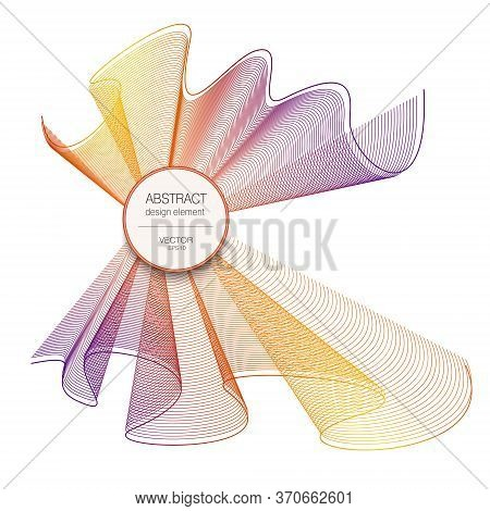 Bright Veil Bow With Round Frame. Purple, Orange, Yellow Colors. Asymmetric Waveform. Vector Wave Pa
