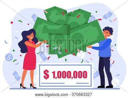 Cheerful Couple Winning Money Prize. Lottery, Grant, Profit Flat Vector Illustration. Celebration, W