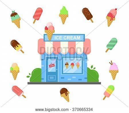 Vector Ice Cream Shop Facade Building With Different Flavor Ice Creams. Summer Cold Desserts. Cartoo