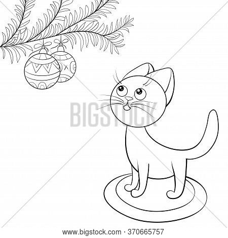 A Cartoon Cute Cat With A New Year Brunch Of Fir Tree With Christmas Balls Image For Relaxing Activi