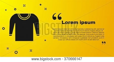 Black Sweater Icon Isolated On Yellow Background. Pullover Icon. Vector