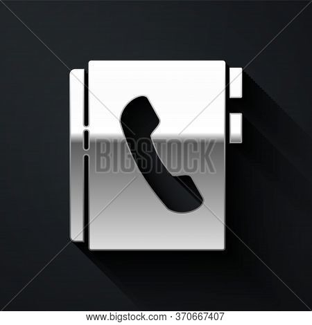 Silver Address Book Icon Isolated On Black Background. Notebook, Address, Contact, Directory, Phone,