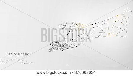 Outstretched Hand Made Of Lines, Dots And Triangles Over Grey Background, Illustration, Panorama Wit