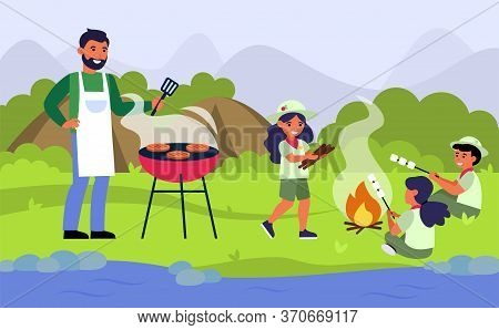 Family Having Barbecue Picnic At River Bank. Man Grilling Meat While Kids Frying Marshmallow Flat Ve