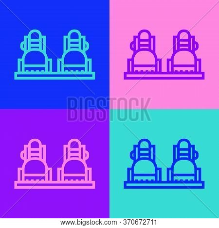 Pop Art Line Snowboard Icon Isolated On Color Background. Snowboarding Board Icon. Extreme Sport. Sp