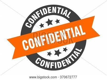 Confidential Sign. Confidential Orange-black Round Ribbon Sticker