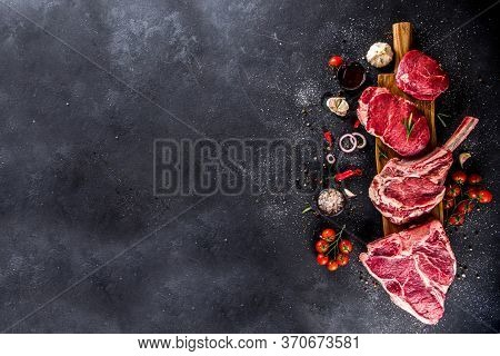 Set Of Various Classic, Alternative Raw Meat, Veal Beef Steaks - Chateau Mignon, T-bone, Tomahawk, S