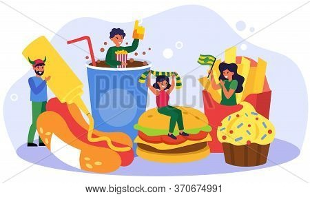 Football Fans Celebrating Team Success With Fast Food. Burger, Hotdog, Cafe Flat Vector Illustration
