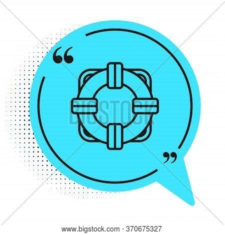 Black Line Lifebuoy Icon Isolated On White Background. Lifebelt Symbol. Blue Speech Bubble Symbol. V
