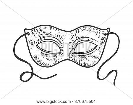 Masquerade Carnival Mask Sketch Engraving Vector Illustration. T-shirt Apparel Print Design. Scratch