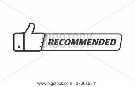 Gray Linear Vector Illustration Banner Recommended With Thumbs Up On White Background. Vector