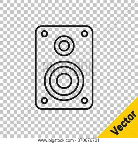 Black Line Stereo Speaker Icon Isolated On Transparent Background. Sound System Speakers. Music Icon