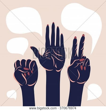 Poster With Arms Raised Up. Open Palm, Fist, Victory Gesture. Civil Unrest, Demands, Protection. Vec