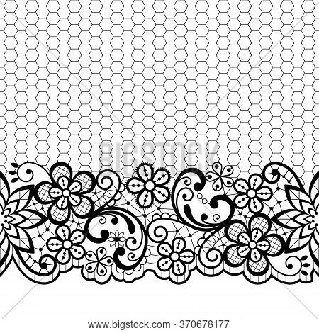 Wedding Lace Vector Pattern, Detailed Retro Ornament, Lace Design With Flowers And Swirls In Black O
