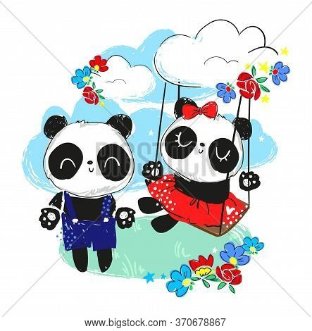 Panda In A Dress With A Bow On A Swing. Cute Couple Panda. Beautiful Illustration. Print Design