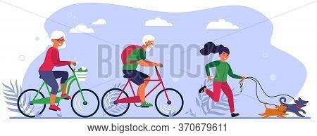 Diverse Active People Enjoying Activities In Park. Senior Couple Riding Bikes, Person Walking Dog Fl