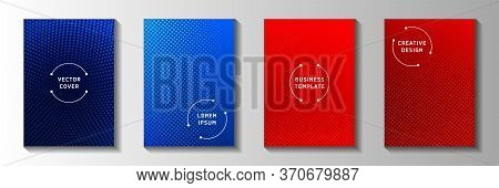 Abstract Circle Faded Screen Tone Front Page Templates Vector Collection. Digital Catalog Perforated