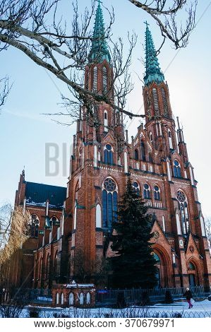 Warsaw, Poland - March 18, 2020: Cathedral Of St. Michael The Archangel And St. Florian The Martyr.