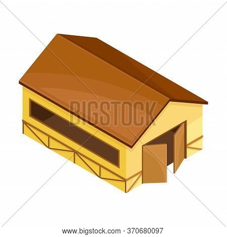 Barn Or Granary With Gates For Hay And Crop Storage Vector Isometric Illustration
