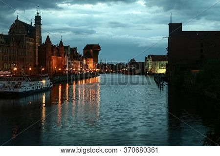 Gdansk, Poland - June 10, 2009: Waterfront Of The Martwwa Wisla Vistula River With Medieval Houses O