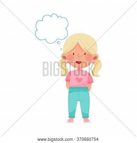 Emoji Girl With Ponytails Feeling Absent Mindedness Vector Illustration