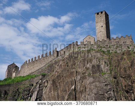 Fortification Of Castel Grande In European Bellinzona City, Capital Of Canton Ticino In Switzerland,