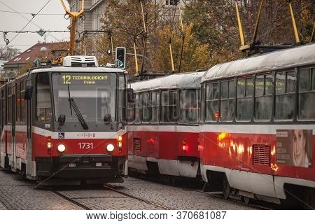 Brno, Czechia - November 5, 2019: Two Trams, Tatra T# And Kt8d5 Models, Crossing Each Other In The C